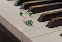 Load image into Gallery viewer, Emerald Green Crystal Earrings and Silver Pendant DAISY, [product type], - Personalised Silver Jewellery Ireland by Magpie Gems