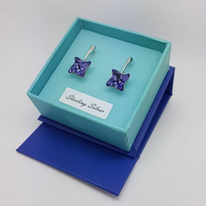 Ultra Violet Twisted Crystal Earrings | Lever Back Earrings, [product type], - Personalised Silver Jewellery Ireland by Magpie Gems