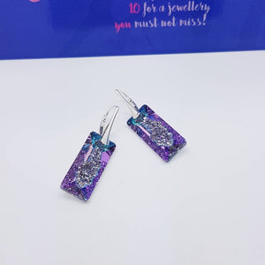 Growing Rectangle Crystal Earrings, [product type], - Personalised Silver Jewellery Ireland by Magpie Gems