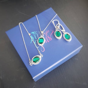 Emerald green fancy jewellery set, [product type], - Personalised Silver Jewellery Ireland by Magpie Gems