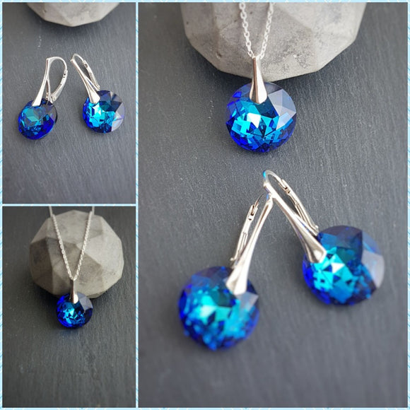 Chic Bermuda Blue Jewellery Set, [product type], - Personalised Silver Jewellery Ireland by Magpie Gems