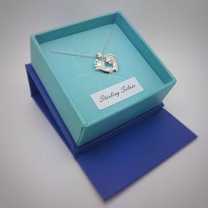 Tiny Baby feet silver necklace | Pink or blue crystals, [product type], - Personalised Silver Jewellery Ireland by Magpie Gems