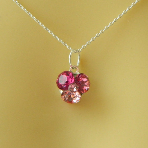 Shades of pink Crystal Fusions Necklace, [product type], - Personalised Silver Jewellery Ireland by Magpie Gems