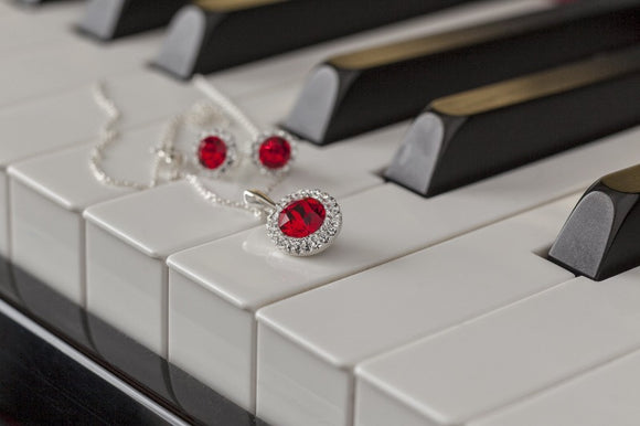 Ruby Red Crystal Earrings and Silver Pendant DAISY, [product type], - Personalised Silver Jewellery Ireland by Magpie Gems