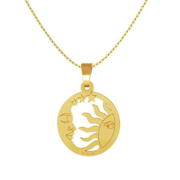 Solid Gold Sun, Moon & Stars Disc Necklace