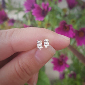 Owl Silver Stud Earrings