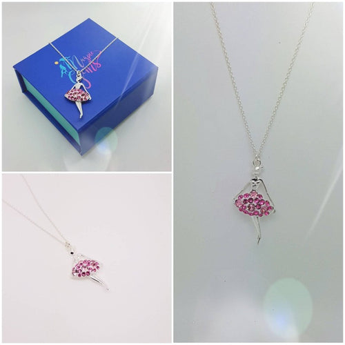 Pink Pave Fairy Ballerina Necklace, [product type], - Personalised Silver Jewellery Ireland by Magpie Gems