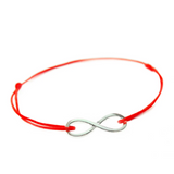 Silver Infinity Red String Bracelet, [product type], - Personalised Silver Jewellery Ireland by Magpie Gems