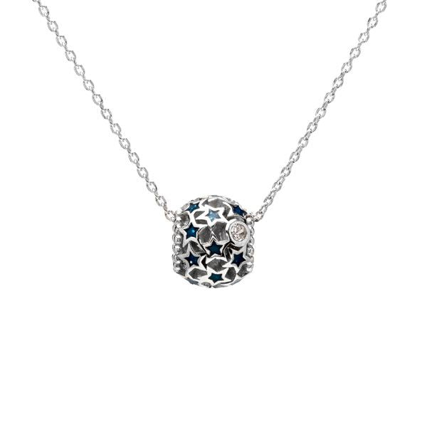 Star and Crystals Ball Silver Necklace