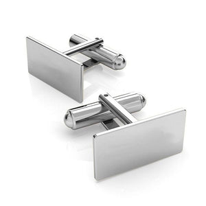 Simple Silver Rectangle Cufflinks, [product type], - Personalised Silver Jewellery Ireland by Magpie Gems