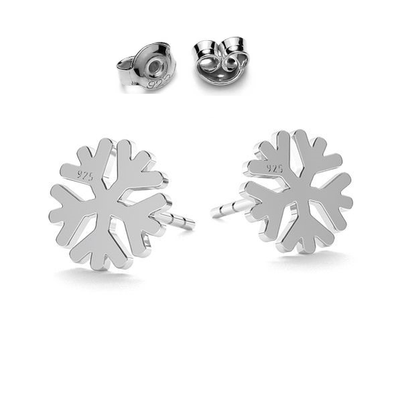 Snowflake post earrings in silver
