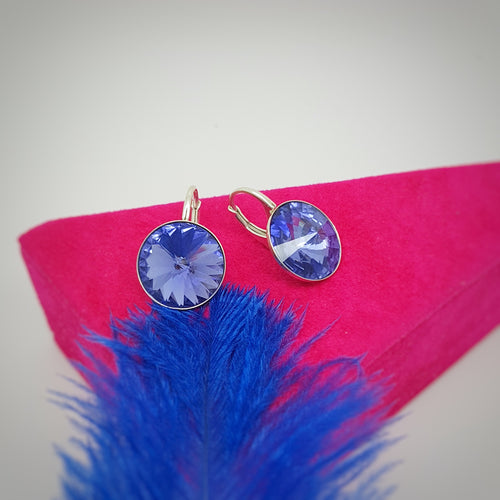 Silver Earrings with 14mm Round Crystals, [product type], - Personalised Silver Jewellery Ireland by Magpie Gems