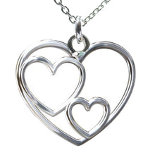 Load image into Gallery viewer, Three GENERATIONS Grandmother Mother and Child 3 Heart Necklace, [product type], - Personalised Silver Jewellery Ireland by Magpie Gems