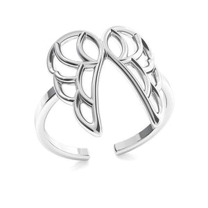 Charming Guardian Angel Wings Silver Ring