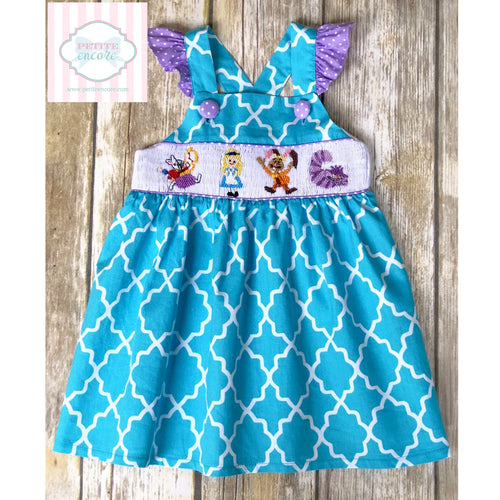 Alice themed smocked dress- 9m