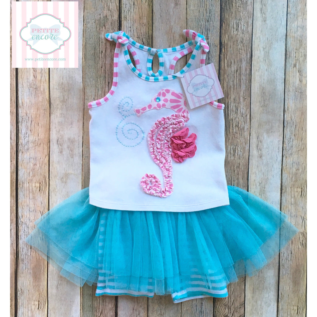 Seahorse themed outfit by Mud Pie 24m/2T