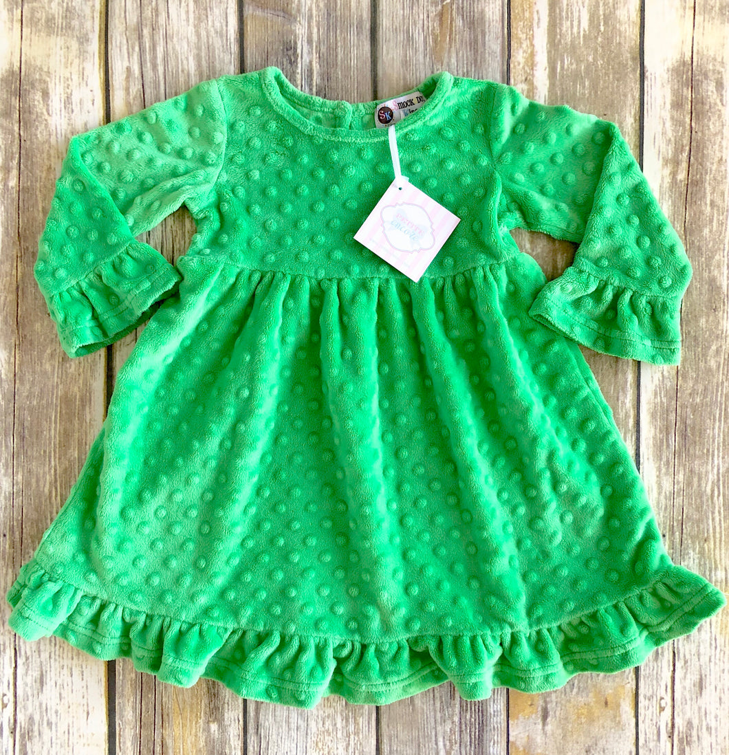 Minky dot ruffled dress 12m