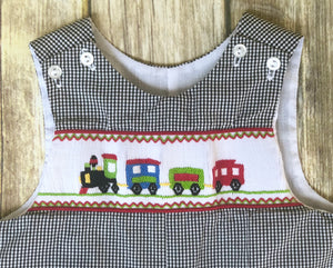 Train themed smocked one piece 9m