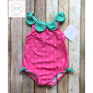Gymboree strawberry themed one piece swimsuit 12-18m