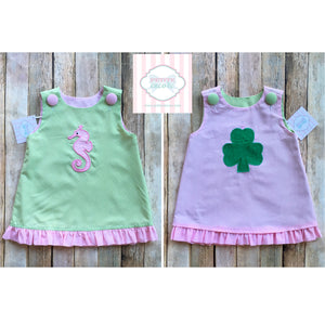 Shamrock/seahorse themed reversible dress 12m