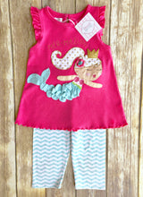 Mud Pie mermaid themed two piece set 4T
