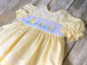 Duck themed dress 6-9m