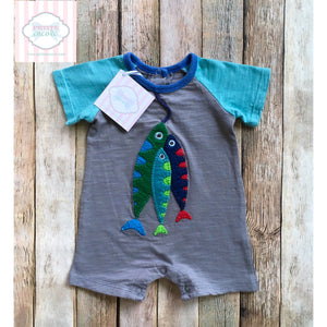 Fishing themed one piece by Mud Pie Baby 3-6m