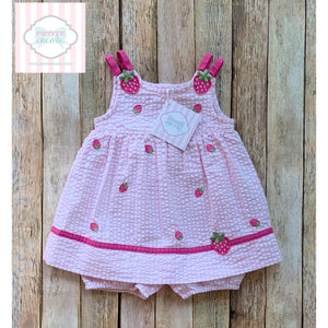 Strawberry themed one piece 3-6m