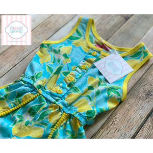 Lemon themed romper by Penelope Mack 2T