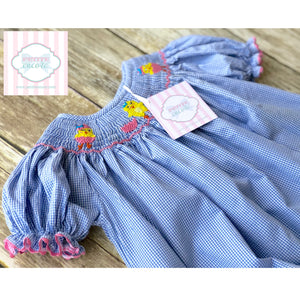 Easter themed smocked one piece 12m