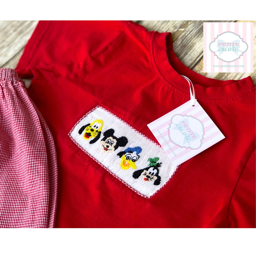 Smock Monkey Disney themed two piece set 4T