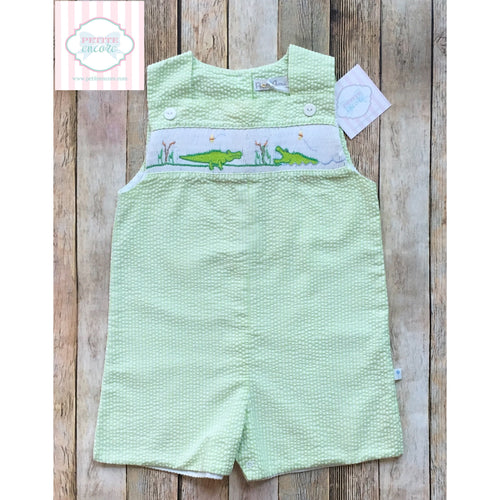 Alligator themed smocked one piece 2T