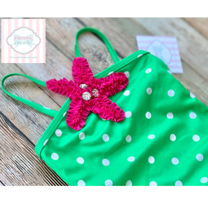 Starfish themed one piece swimsuit 2T