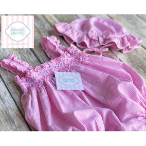 House of Hatten smocked bubble with hat 12m