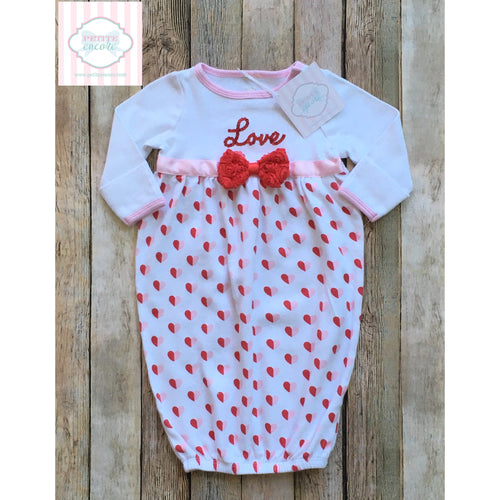Valentine themed gown 0-3m
