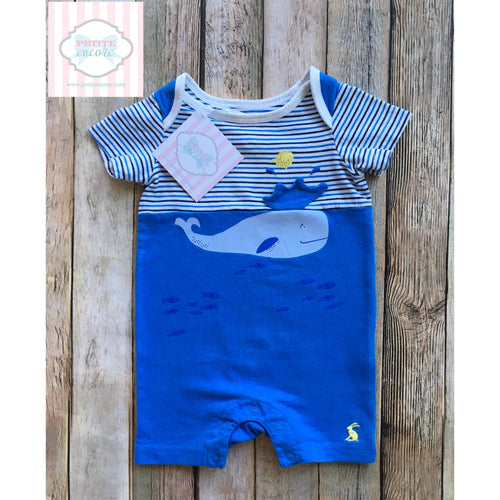 Whale themed one piece by Joules 0-3m