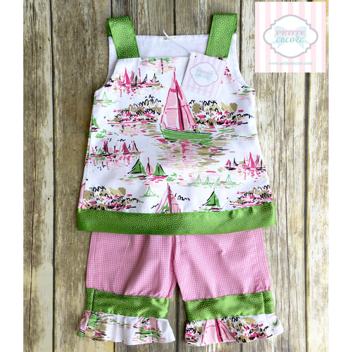 Sailboat themed two piece set 2T