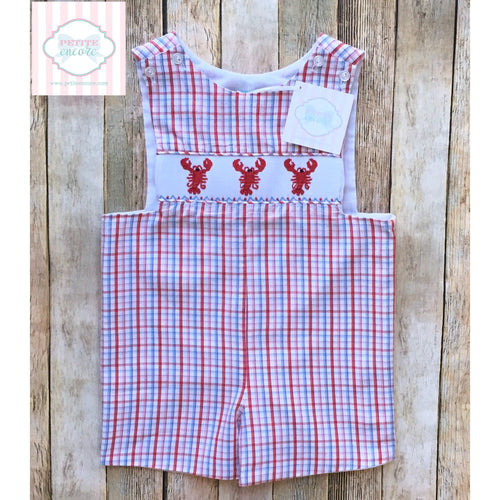 Lobster themed smocked one piece 24m