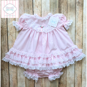 Vintage ruffle dress and bloomers 18m