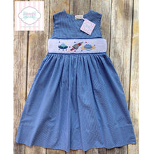 Space themed smocked dress 5