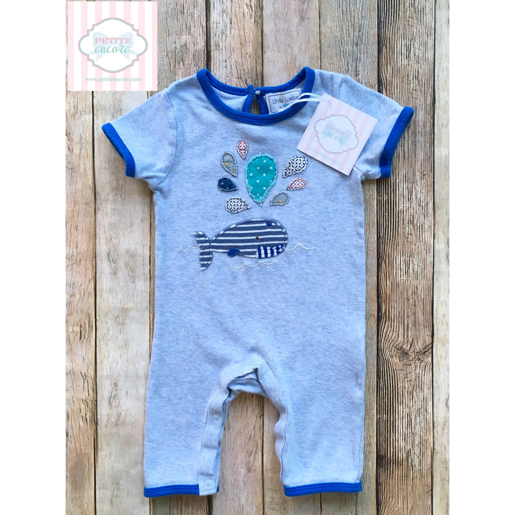 Whale themed one piece by Little London 3-6m