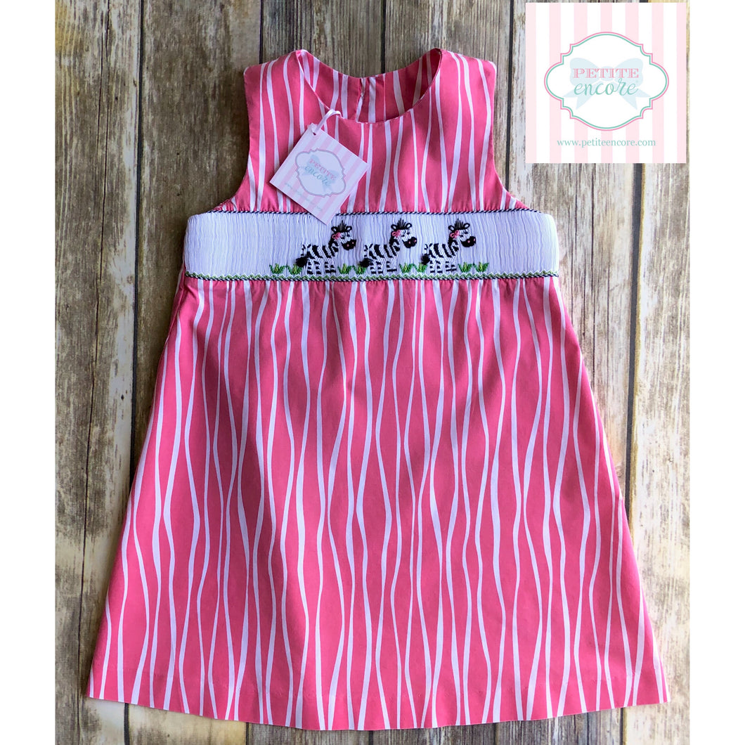 Zebra themed smocked dress by Claire & Charlie 5