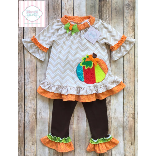 Pumpkin themed two piece 2T
