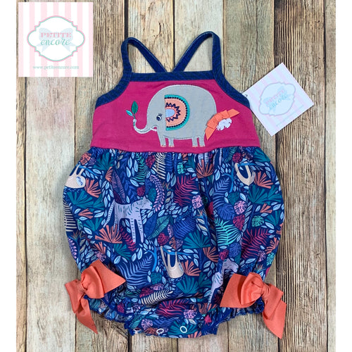 Ricrac & Ruffles elephant themed one piece 12m