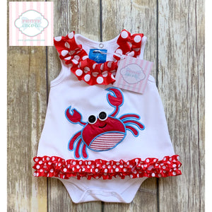 Mud Pie Baby crab themed one piece 0-6m
