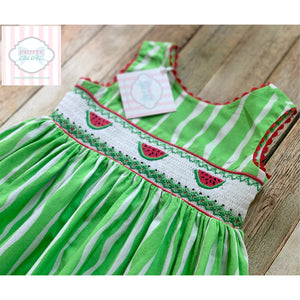Watermelon themed smocked dress 4T
