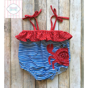 Crab themed swimsuit by Mud Pie Baby 6-9m