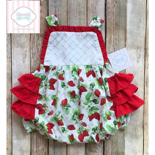 Strawberry themed ruffled one piece 18m