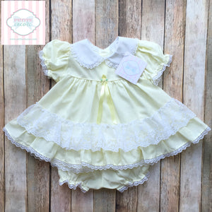 Vintage ruffled dress with bloomers 6m