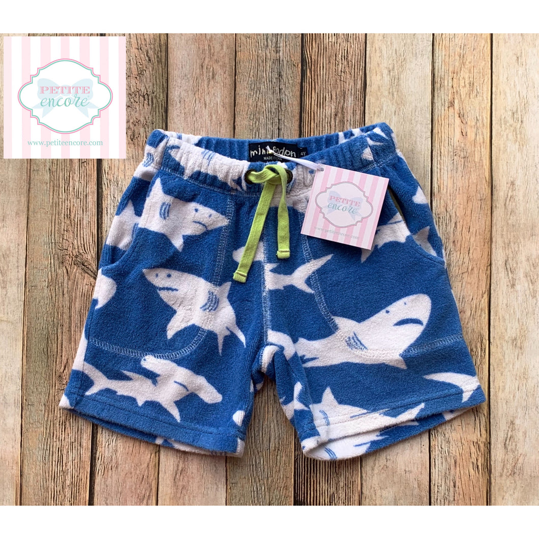 Mini Boden shark themed terry shorts 4